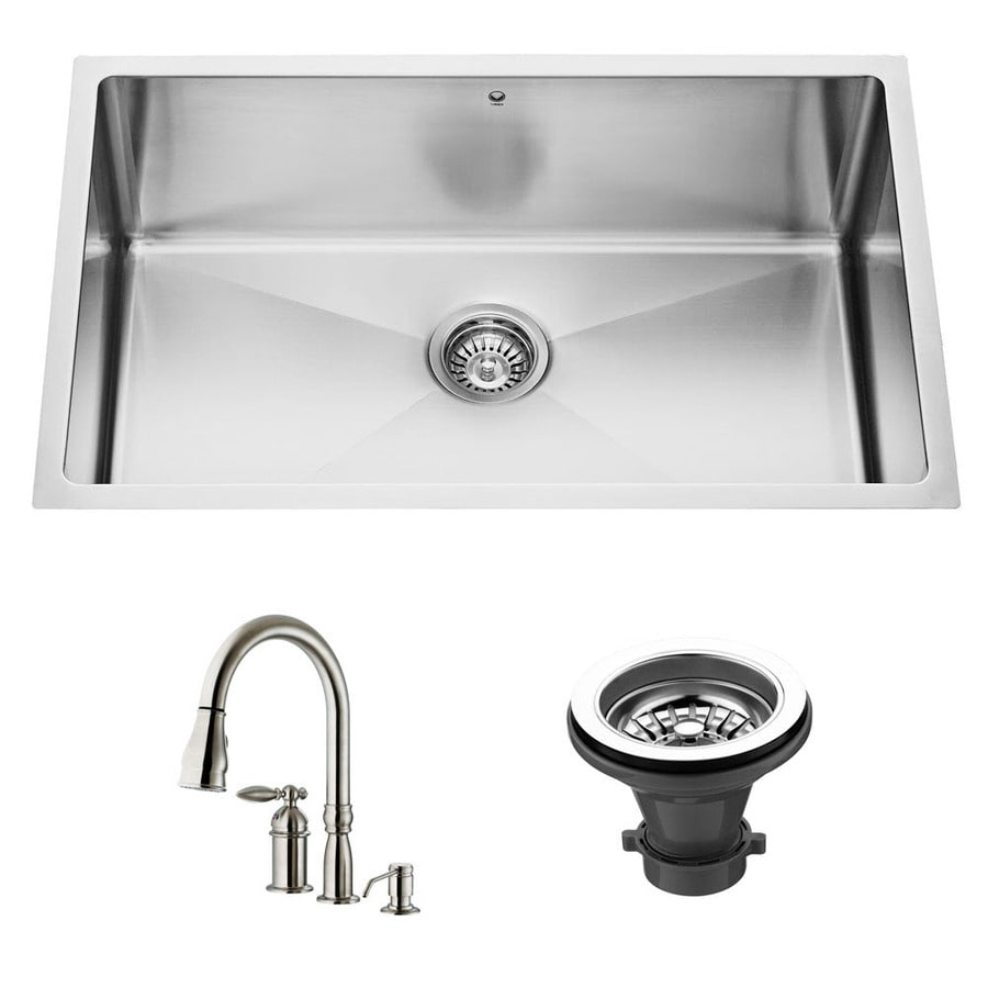 Shop Vigo Kitchen Sets 16 Gauge Single Basin Undermount Stainless Steel Kitchen Sink With Faucet