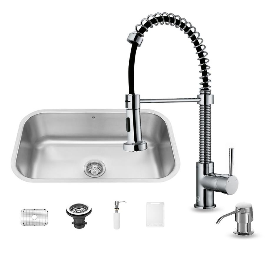 VIGO 30-in x 18-in Matte/Brushed Steel-Stainless Single-Basin Undermount Commercial/Residential Kitchen Sink All-In-One Kit