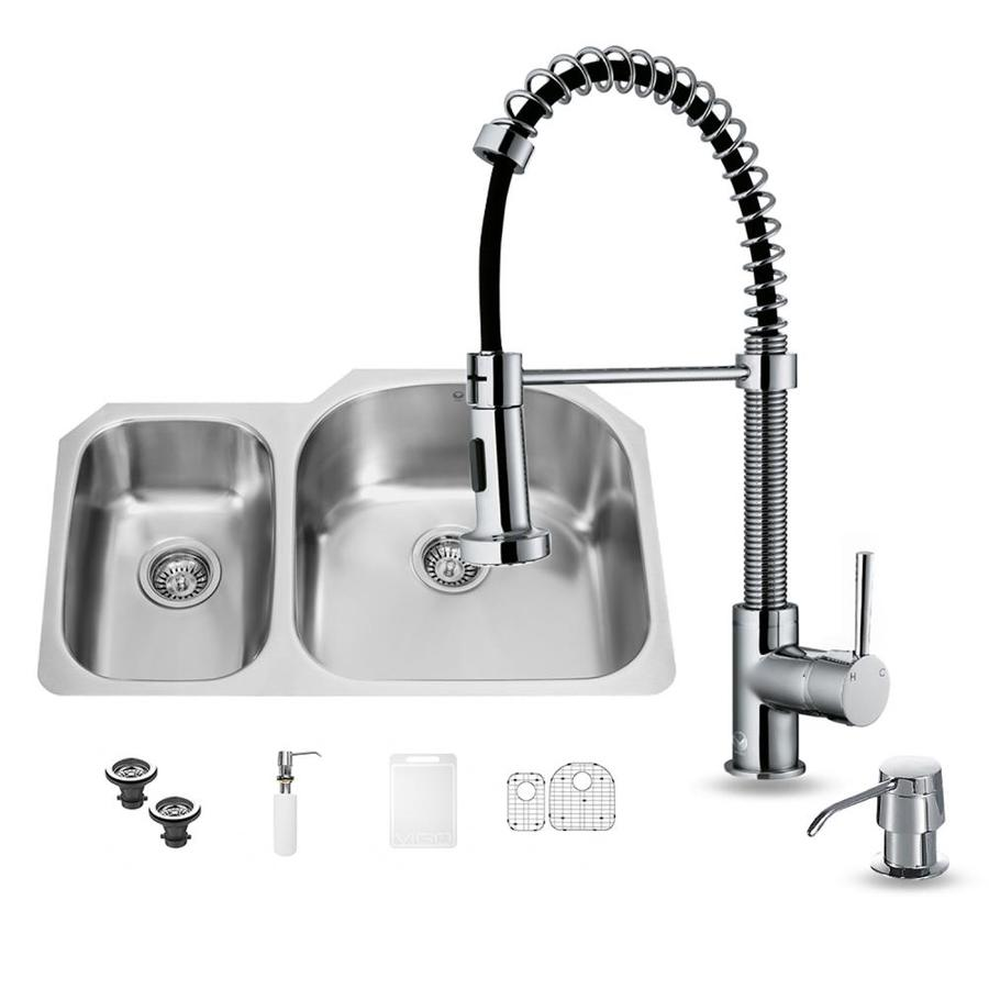 VIGO 31.5-in x 20.5-in Matte/Brushed Steel-Stainless Double-Basin Undermount Commercial/Residential Kitchen Sink All-In-One Kit