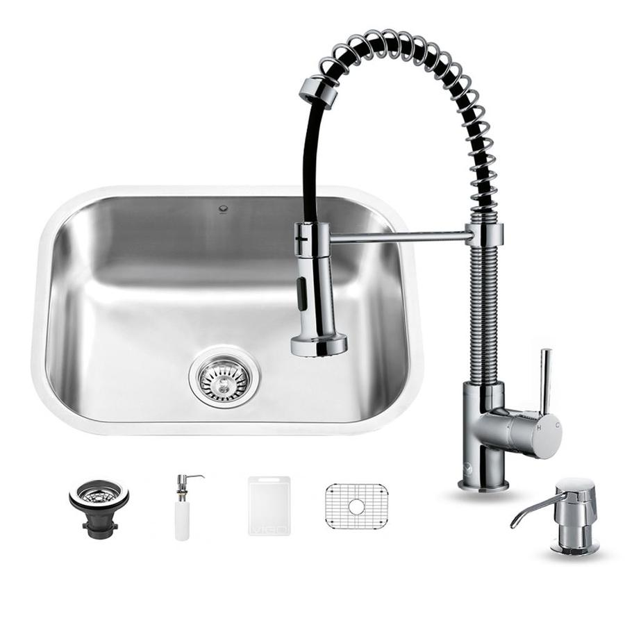VIGO 23.0000-in x 17.7500-in Premium Satin Single-Basin-Basin Stainless Steel Undermount (Customizable)-Hole Commercial/Residential Kitchen Sink All-In-One Kit