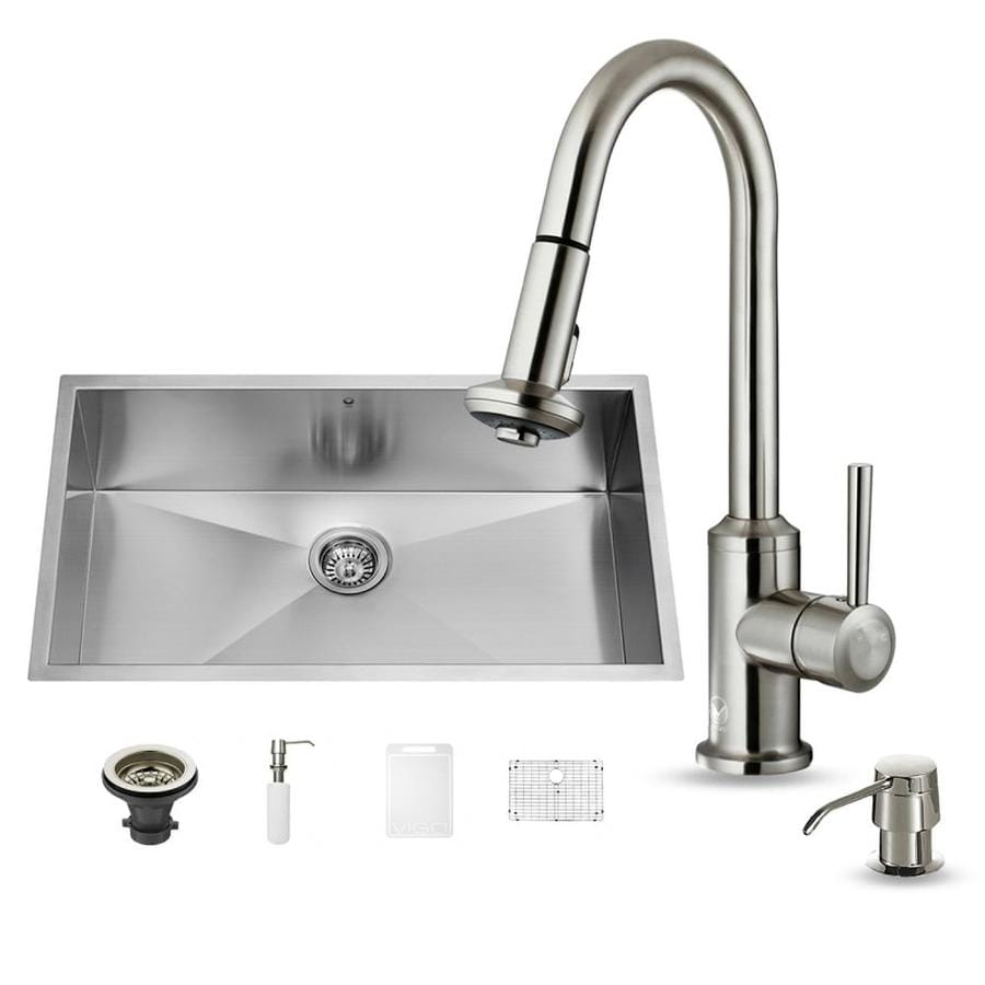 VIGO 32-in x 19-in Matte/Brushed Steel-Stainless Single-Basin Undermount Commercial/Residential Kitchen Sink All-In-One Kit