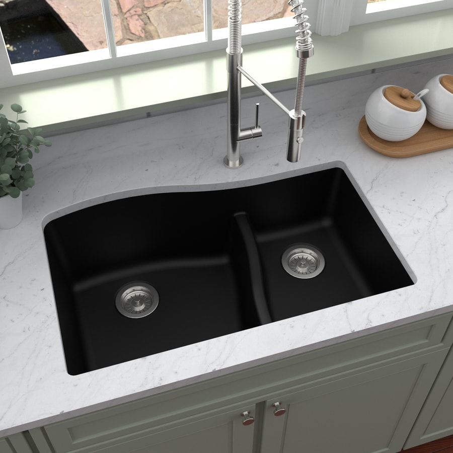 Black Kitchen Sink Lowes: Karran 32-in X 21-in Black Double-Basin Undermount