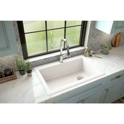 33-in x 22-in White Single Bowl Drop-In 1-Hole Residential Kitchen Sink