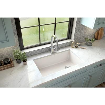 31.625-in x 19.125-in White Single Bowl Undermount Residential Kitchen Sink
