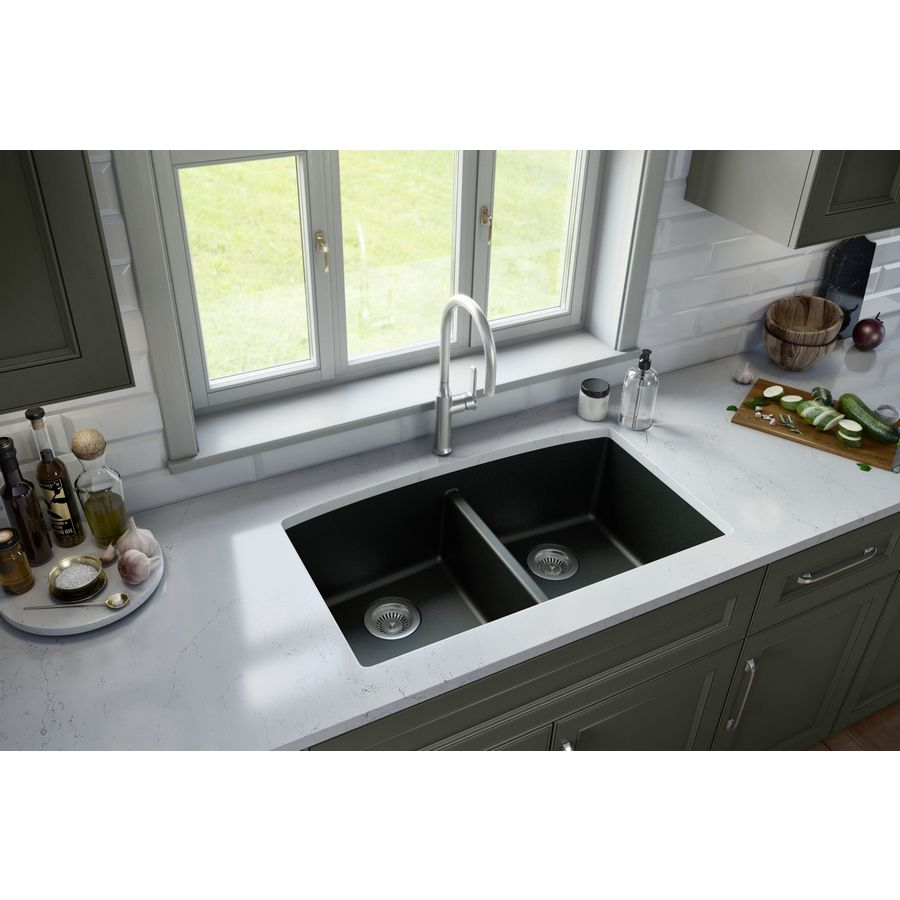 Black Kitchen Sinks Lowe S: Karran 32.5-in X 19.5-in Black Double-Basin Undermount
