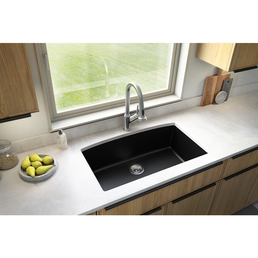 Black Kitchen Sinks Lowe S: Karran 32.5-in X 19.5-in Black Single-Basin Undermount