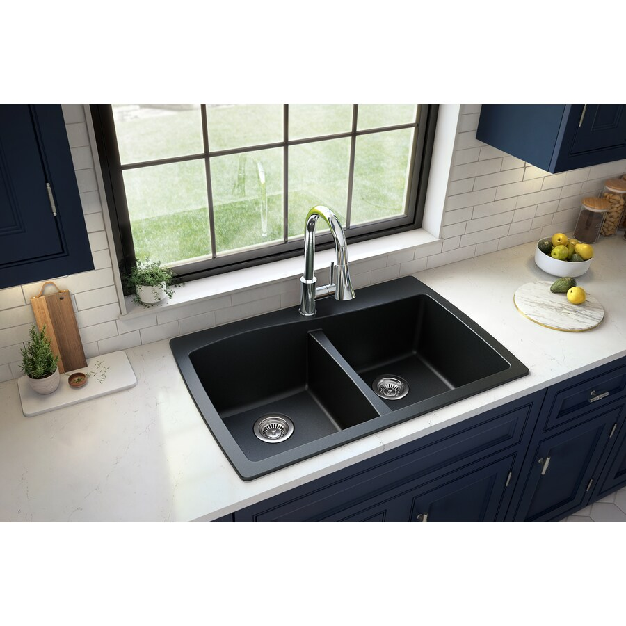 Karran Drop In 34 In X 22 In Black Double Equal Bowl 1 Hole Kitchen Sink In The Kitchen Sinks Department At Lowes Com