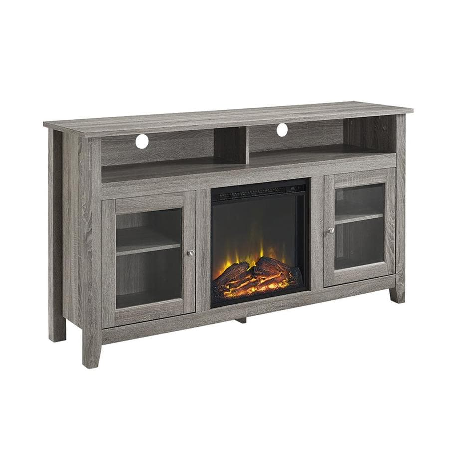walker edison highboy driftwood rectangular fireplace at lowes com rh lowes com