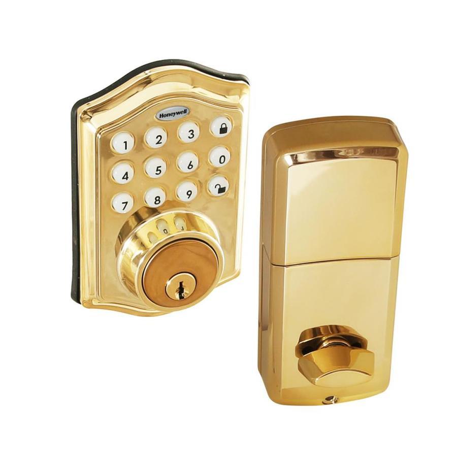 Honeywell Polished Brass Single Cylinder Deadbolt 1
