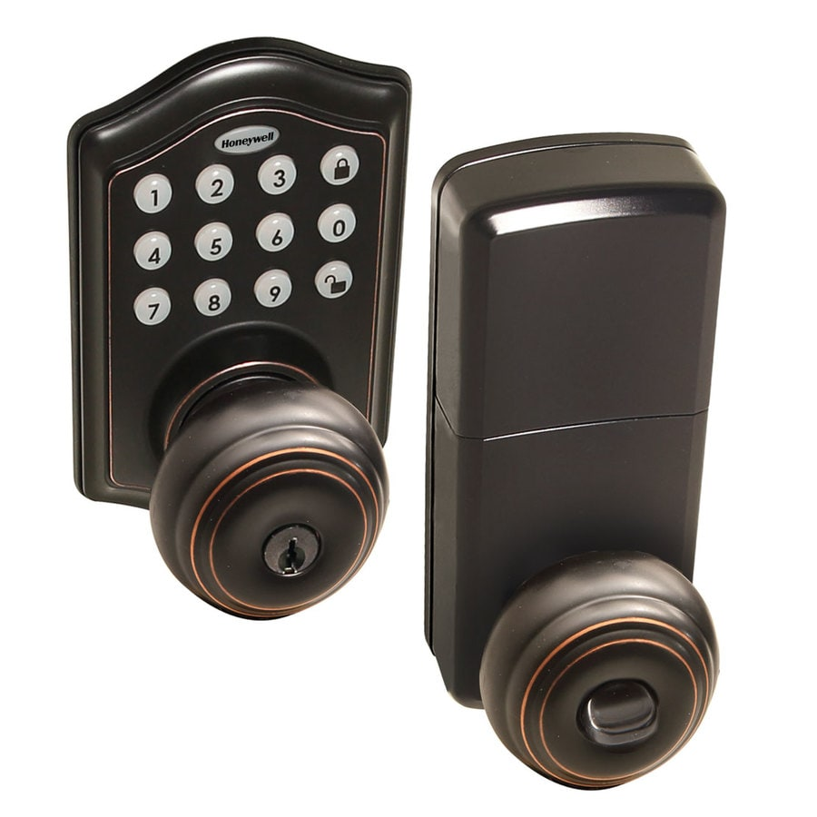 Honeywell Oil Rubbed Bronze Electronic Entry Door Knob With Lighted Keypad