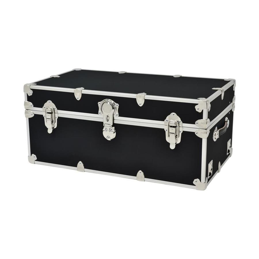 Rhino Trunk and Case 31-Gallon Black Large Armor Wood Storage Trunk