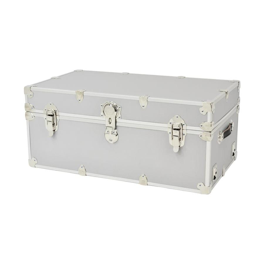 Rhino Trunk and Case 31-Gallon Silver Large Armor Wood Storage Trunk