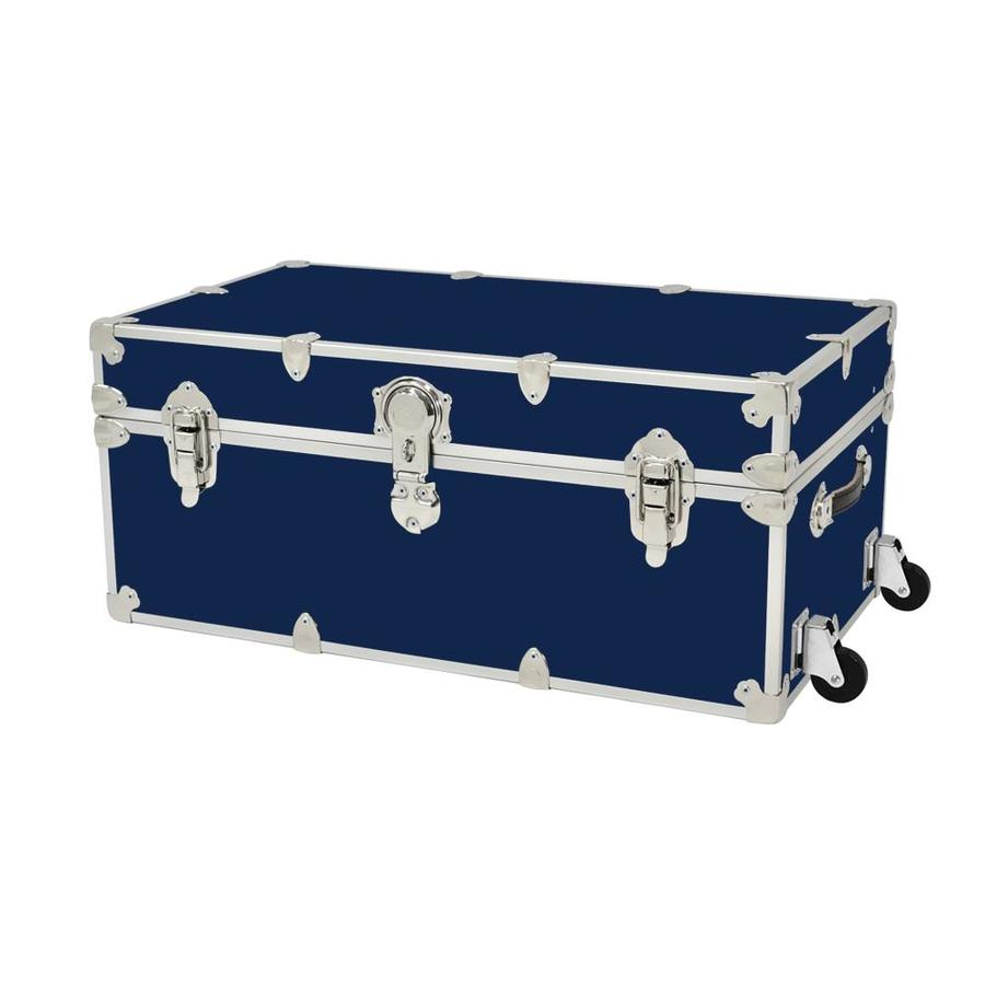 Rhino Trunk and Case 31-Gallon Navy Blue Large Armor Wheeled Wood Storage Trunk