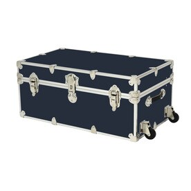 Rhino Trunk And Case 31 Gallon Navy Blue Wheeled Wood Storage Trunk