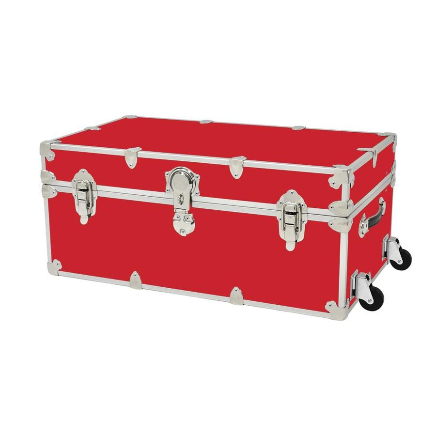 Rhino Trunk and Case 31-Gallon Red Large Armor Wheeled Wood Storage Trunk