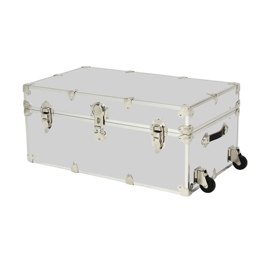 Rhino Trunk and Case 31-Gallon Silver Large Armor Wheeled Wood Storage Trunk