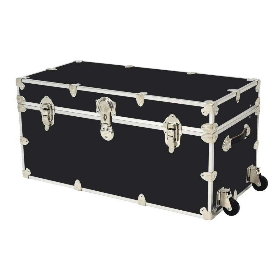 Rhino Trunk and Case 45-Gallon Black Wheeled Wood Storage Trunk