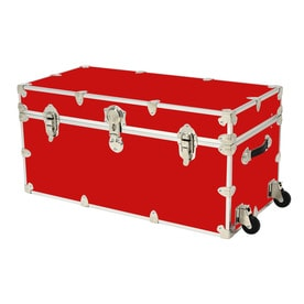 Rhino Trunk And Case 45 Gallon Red XXL Armor Wheeled Wood Storage Trunk