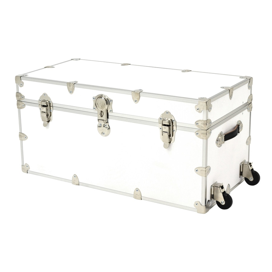 Rhino Trunk and Case 45-Gallon White Wheeled Wood Storage Trunk