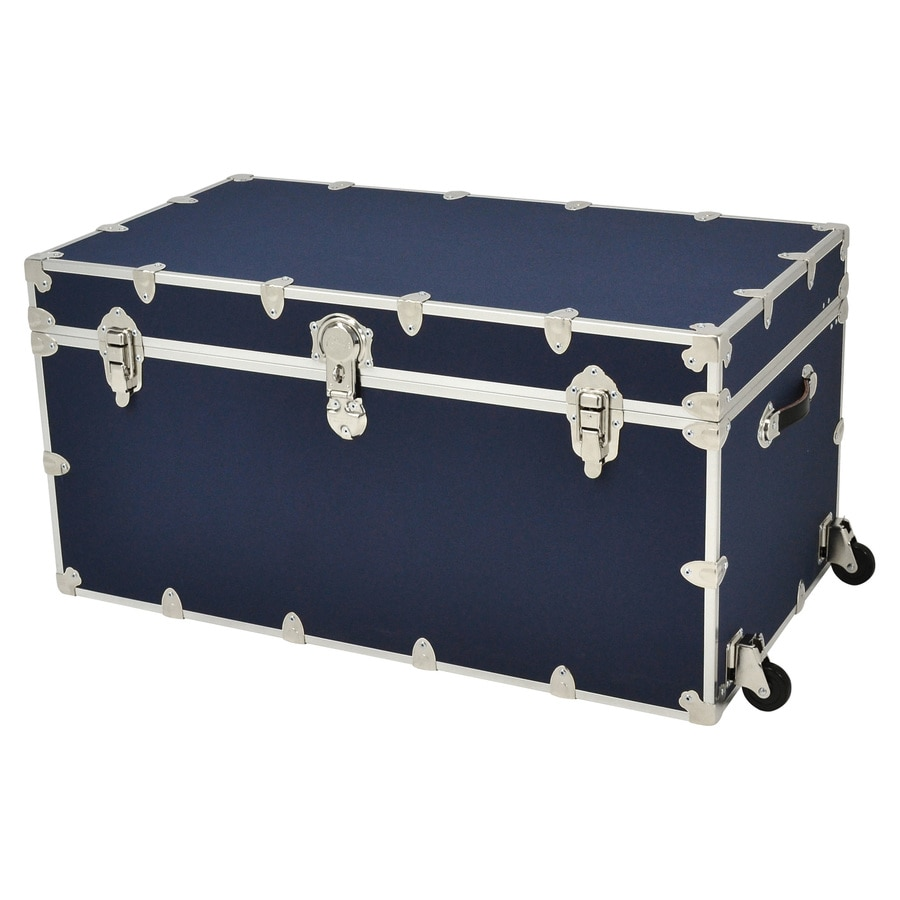 Rhino Trunk and Case 69-Gallon Navy Blue Wheeled Wood Storage Trunk
