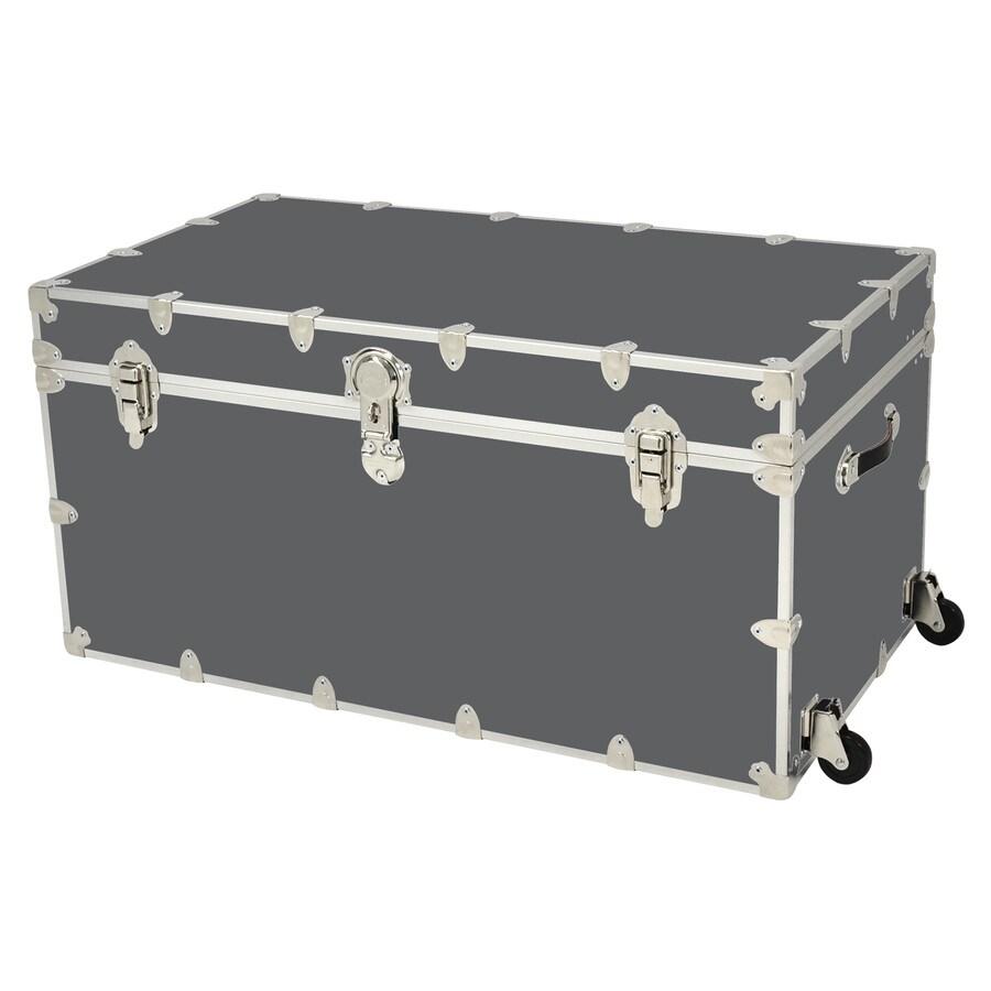 Rhino Trunk and Case 69-Gallon Slate Jumbo Armor Wheeled Wood Storage Trunk
