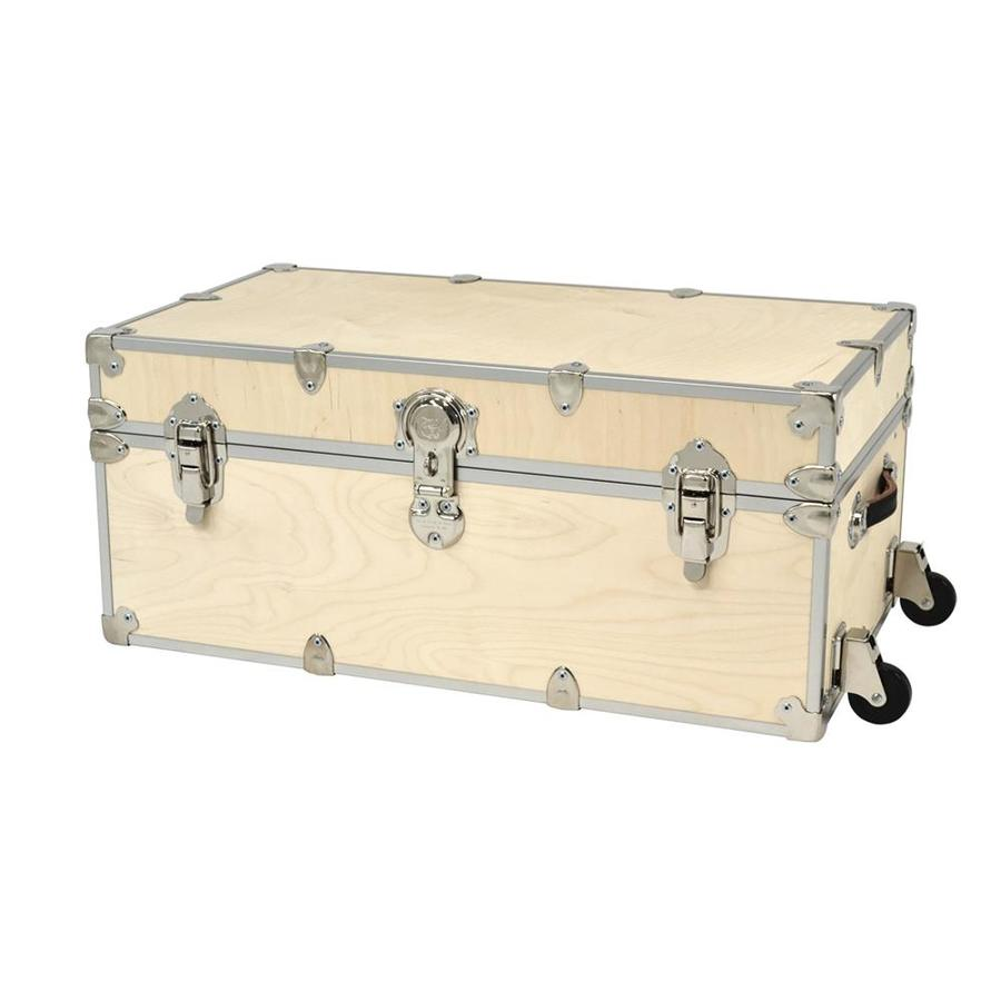 Rhino Trunk And Case 31 Gallon Natural Wheeled Wood Storage Trunk