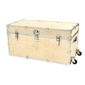 Rhino Trunk And Case 45 Gallon Natural XXL Wheeled Wood Storage Trunk