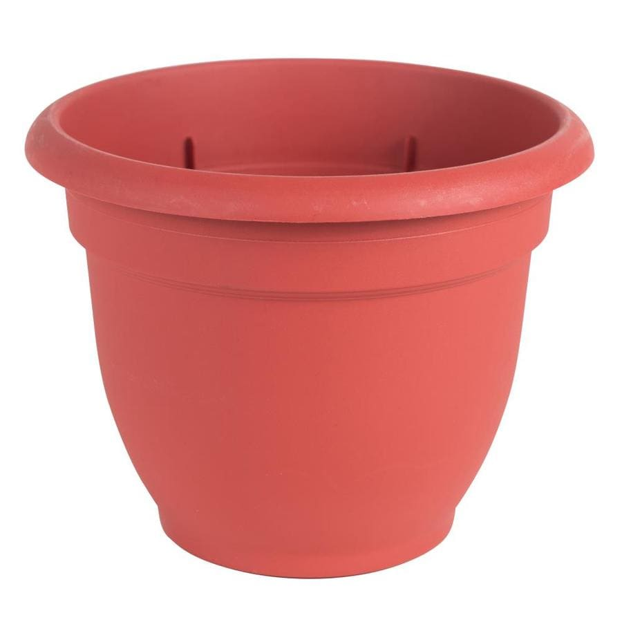 Bloem 13-in x 10.1-in Union Red Resin Self Watering Planter