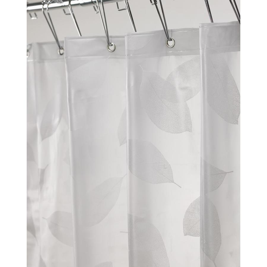 Moda At Home Harvest Leaf Vinyl White Floral Shower Curtain 71 In X