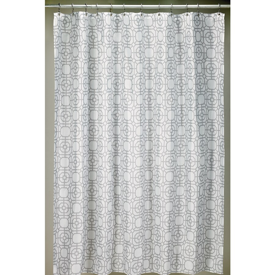 Moda At Home Lattice Polyester Grey Geometric Shower Curtain 71 In X