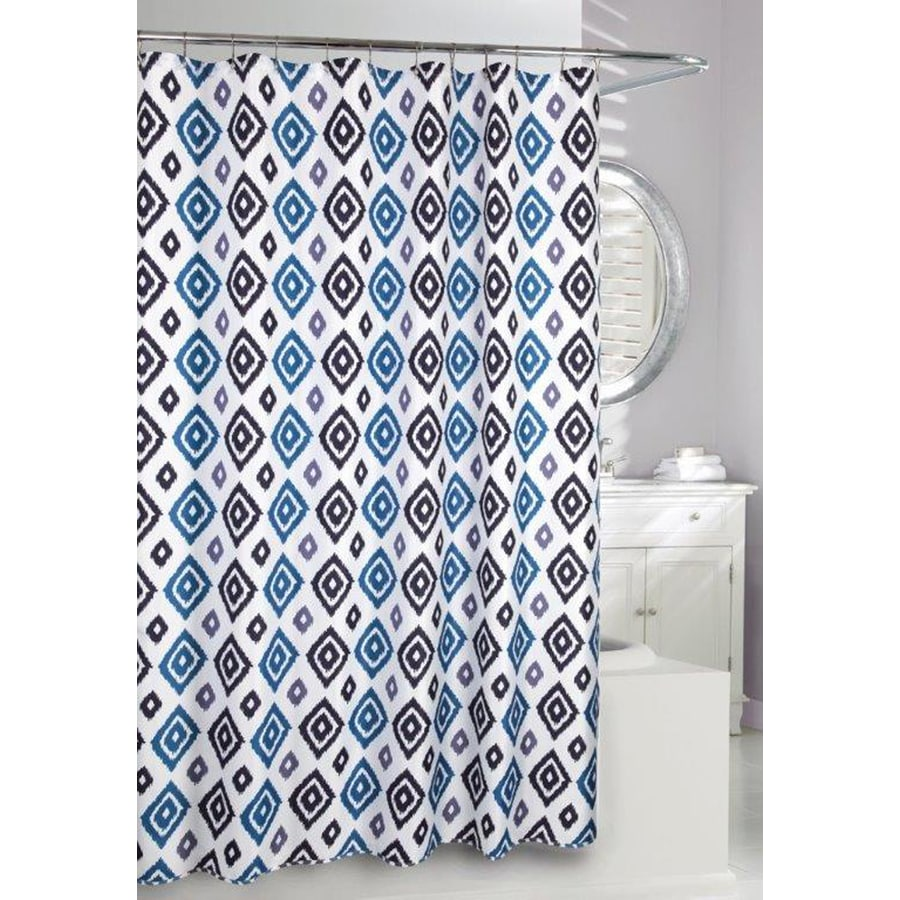 Moda at Home Ikat Polyester Blue Geometric Shower Curtain
