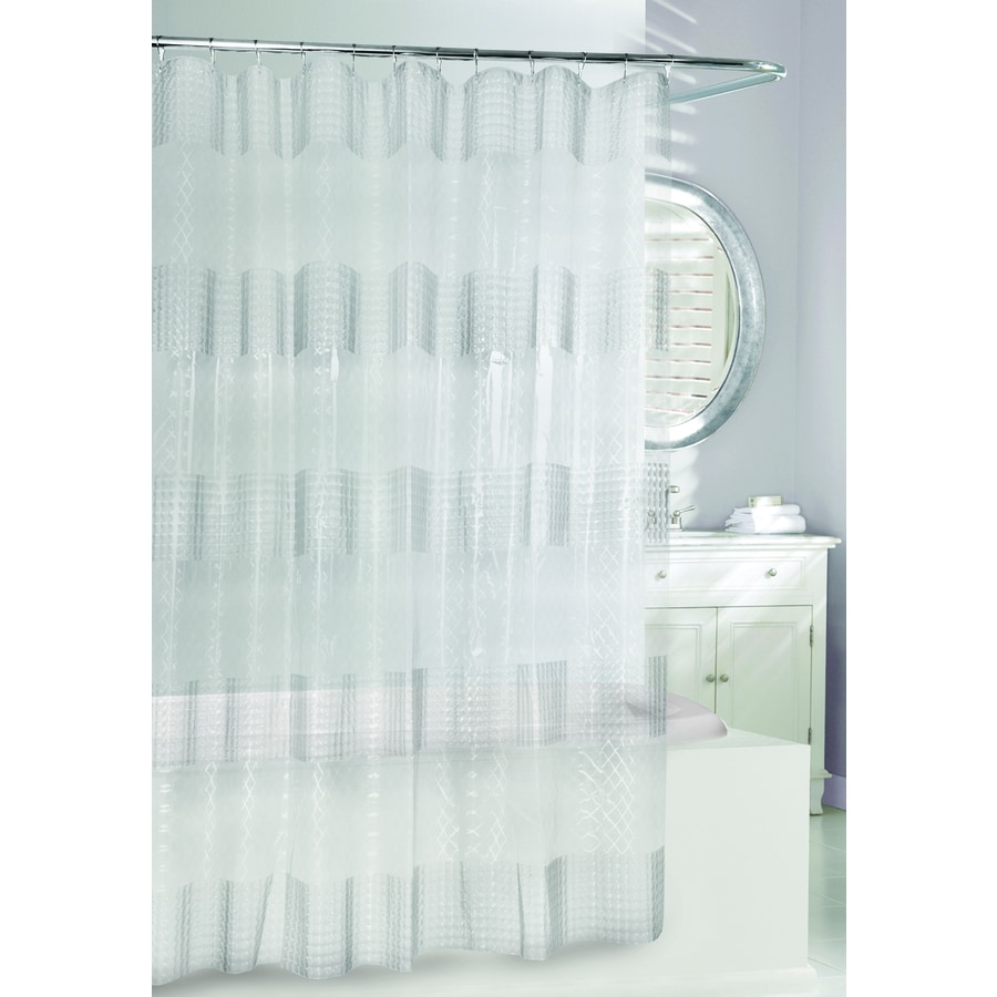 Moda at Home 3D EVA/PEVA Clear Geometric Shower Curtain