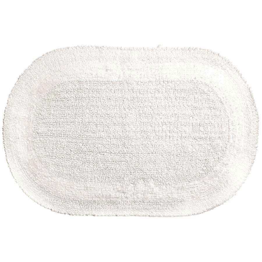 Moda at Home SERENE 28-in x 18-in White Cotton Bath Rug
