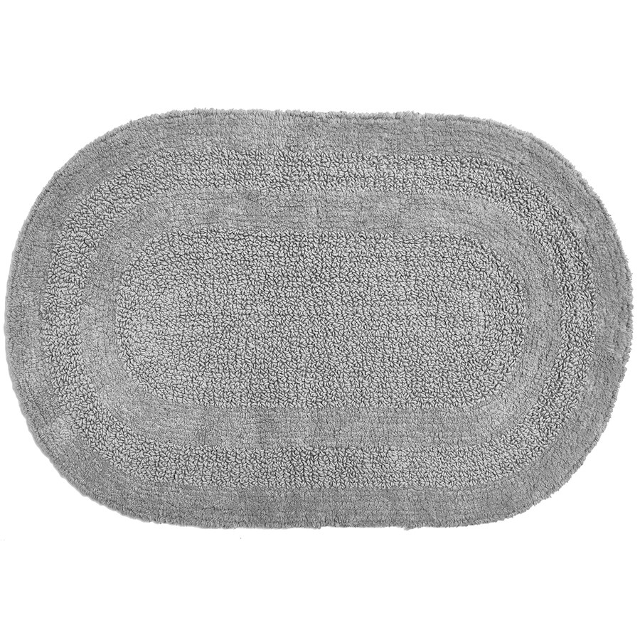 Moda at Home SERENE 28-in x 18-in Grey Cotton Bath Rug