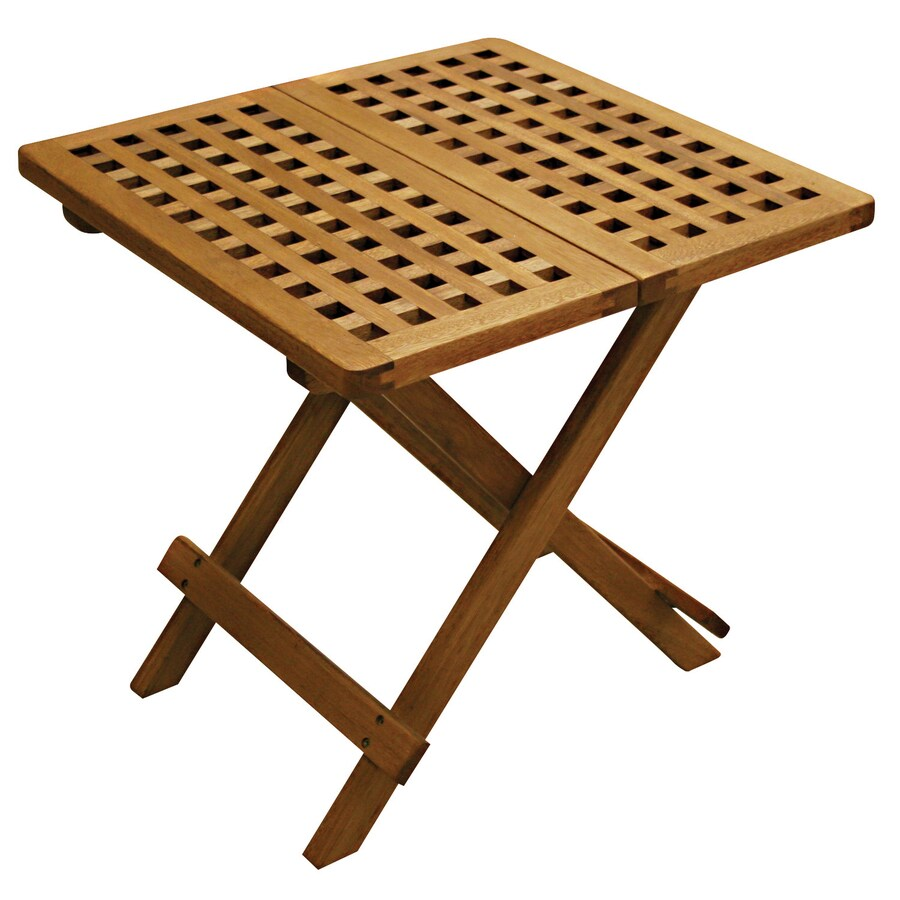 """Outdoor Interiors 20"""" x 20"""" Brown Wood Square Patio Side Table"""