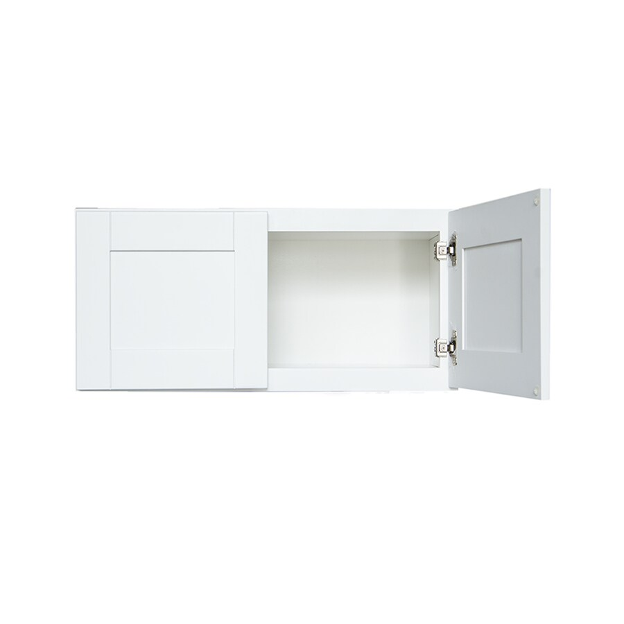 Shop arcade green 30 in w x 18 in h x 24 in d white shaker for Kitchen cabinets 30 x 18