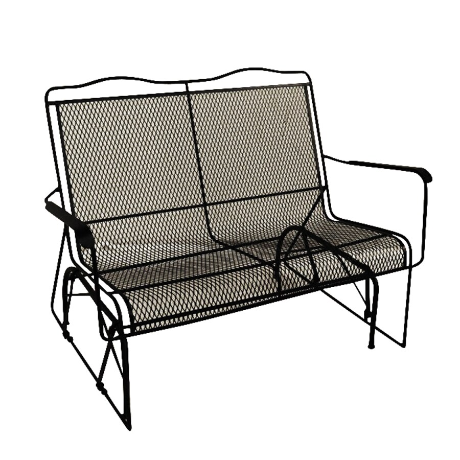 Shop davenport black wrought iron mesh patio loveseat for Iron furniture
