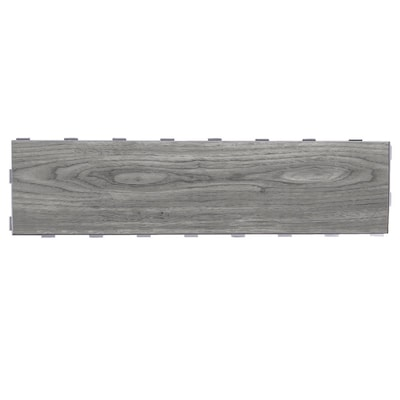 5 Pack Weathered Grey 6 In X 24 Porcelain Wood Look Dimensional Interlocking Tile Common Actual 95 23 79