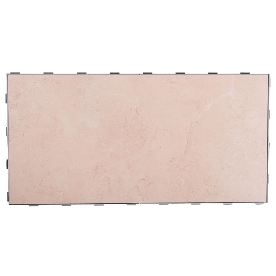 SnapStone Interlocking 4-Pack Sea Shell Porcelain Floor Tile (Common: 12-in x 24-in; Actual: 11.89-in x 23.79-in)