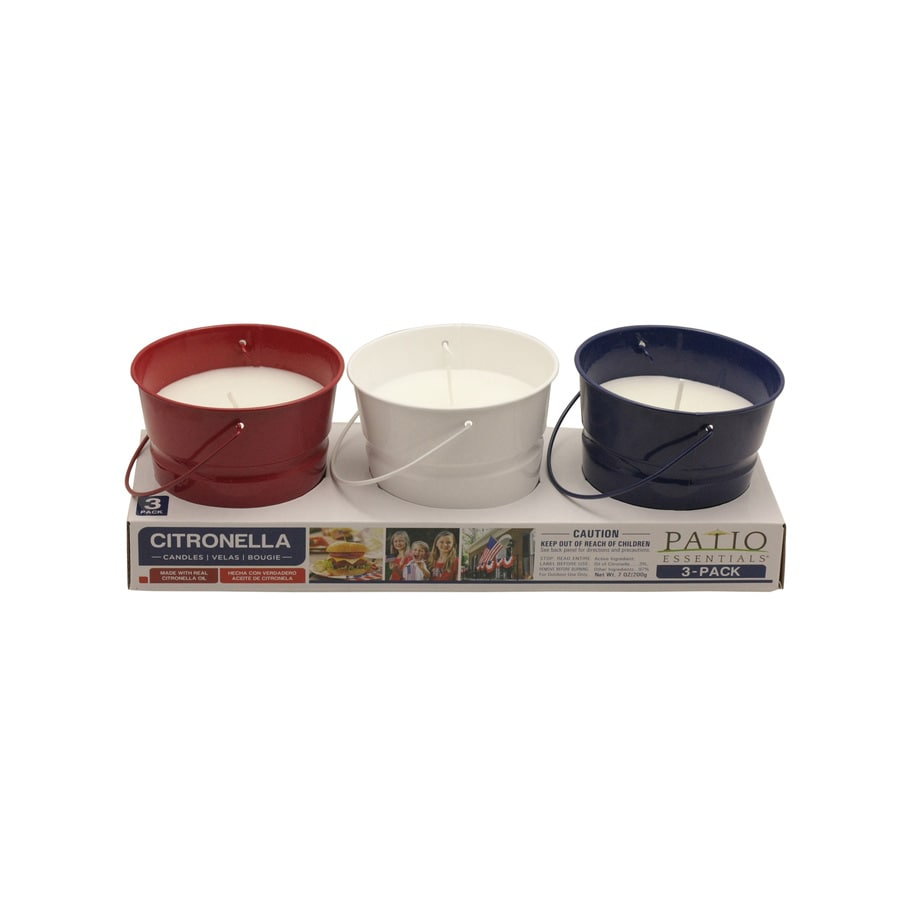 Garden Treasures 3-Pack 1-Wick Red, White, Blue Tabletop Citronella Candle