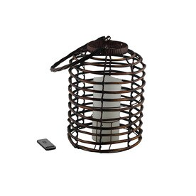 10.83-in x 14.96-in Brown Rattan Pillar Candle Outdoor Decorative Lantern