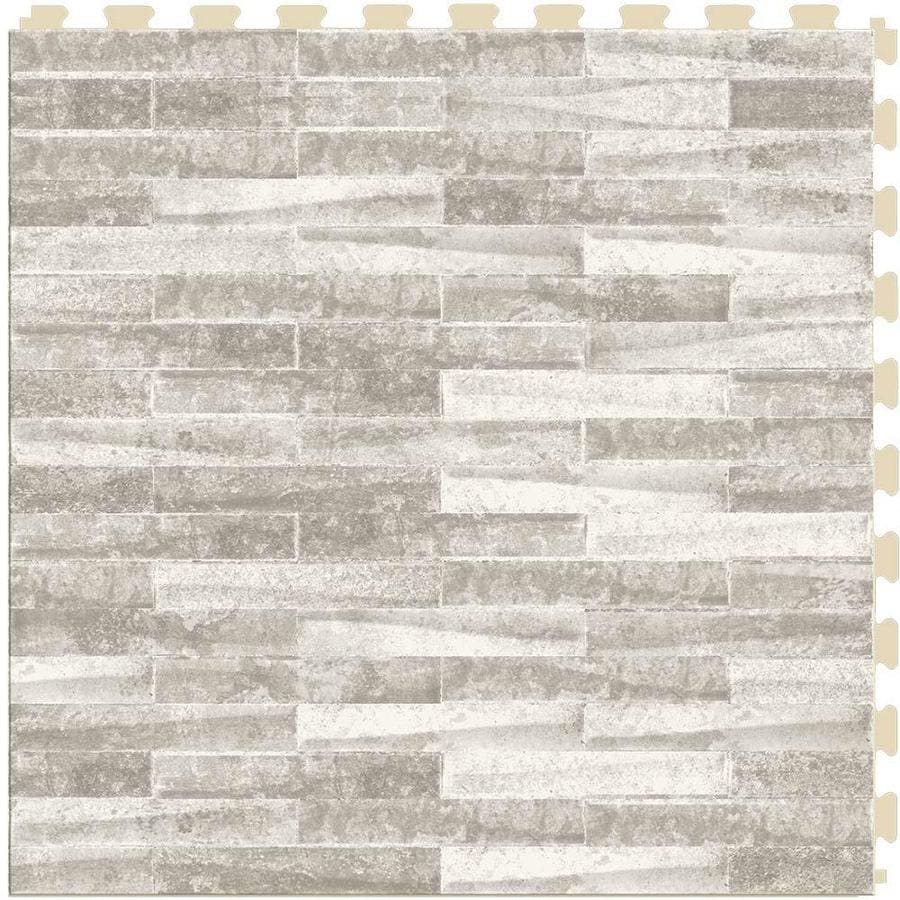 Shop perfection floor tile master mosaic 6 piece 20 in x 20 in castle stone locking pattern - Vinyl deck tiles ...