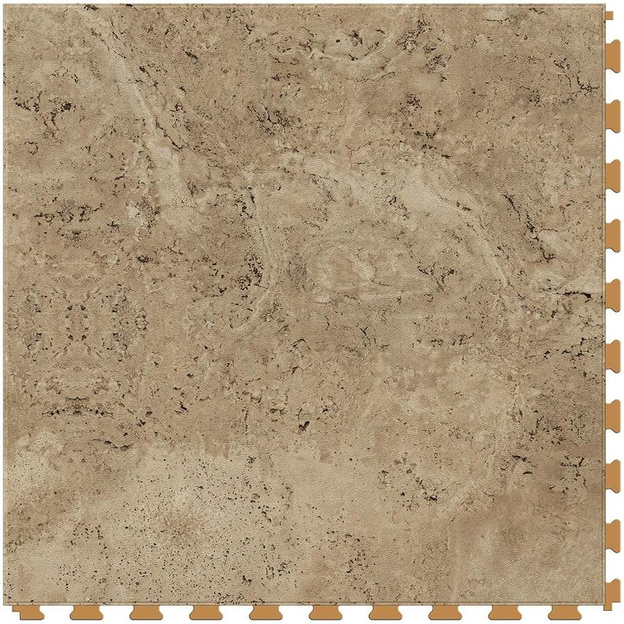 Perfection Floor Tile Lvt 6-Piece 20-in x 20-in Camel Floating Travertine Luxury Commercial/Residential Vinyl Tile