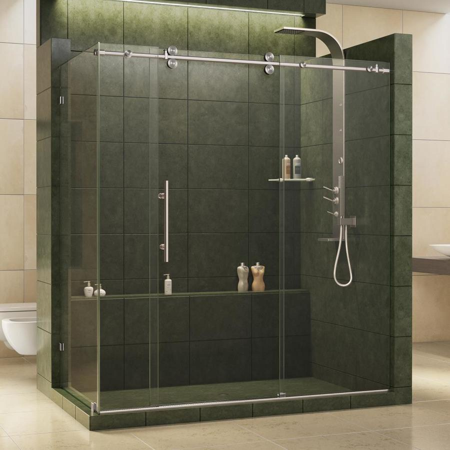 DreamLine Enigma 68.5-in to 72.5-in Frameless Brushed Stainless Steel Sliding Shower Door