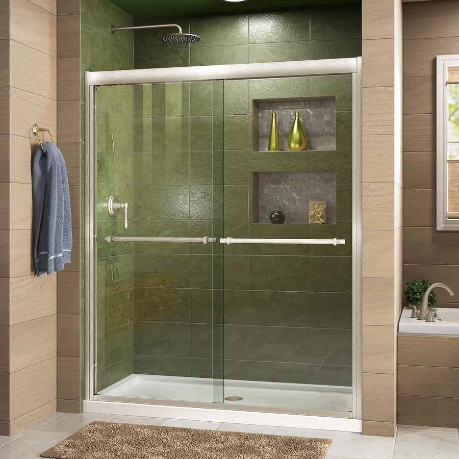 Bathroom shower doors frameless - Dreamline Duet 44 In To 48 In W Frameless Brushed Nickel Sliding Shower Door