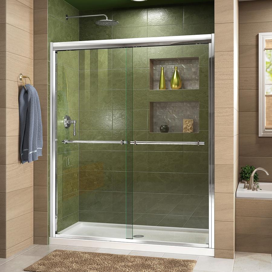DreamLine Duet 56-in to 60-in W Frameless Chrome Sliding Shower Door