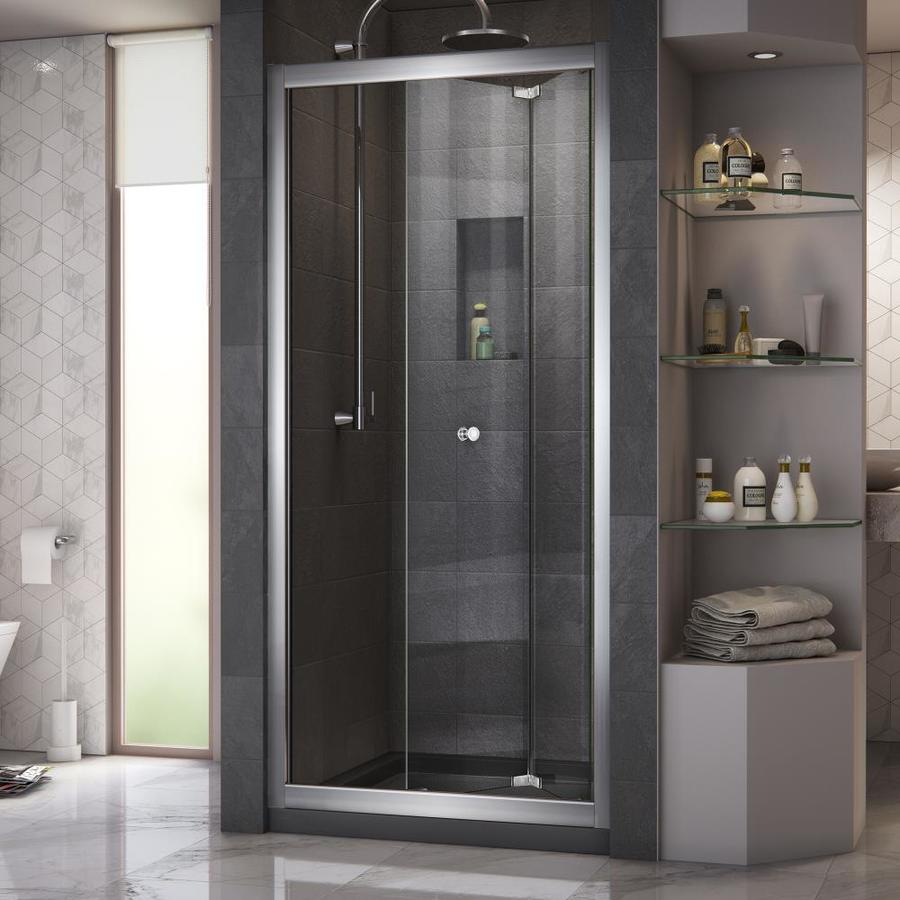 DreamLine Butterfly 34-in to 35.5-in W x 72-in H Frameless Bifold Sliding Shower Door