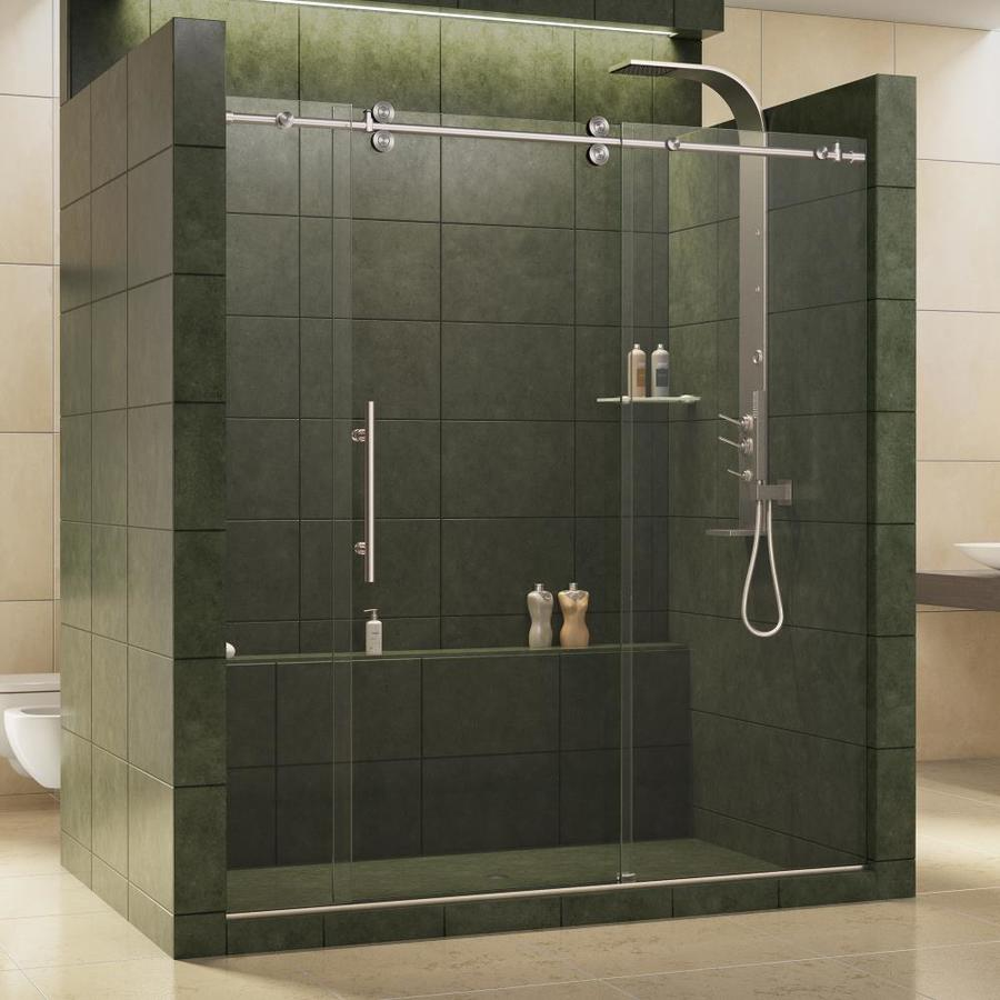 DreamLine Enigma 68-in to 72-in Frameless Brushed Stainless steel Sliding Shower Door