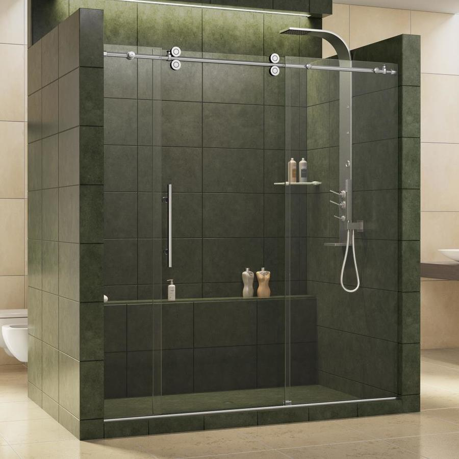 DreamLine Enigma 68-in to 72-in Frameless Polished Stainless Steel Sliding Shower Door