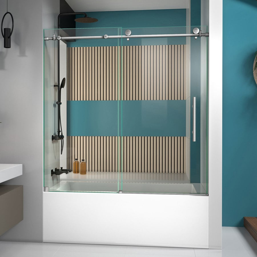 Bathroom shower doors frameless - Dreamline Enigma X 59 In W X 62 In H Frameless Bathtub Door
